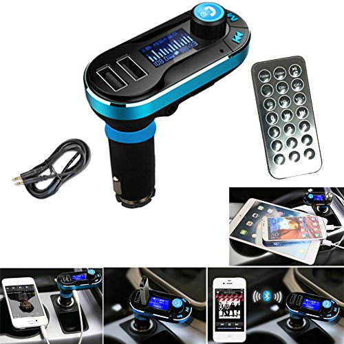 LarKoo LCD Screen vehicle Dual USB Car Charger Adapter Premium Aluminum Car Kit Bluetooth Converter MP3 Player FM Transmitter Hands-free Support SD Card/USB Line in Wireless Controller (Blue)