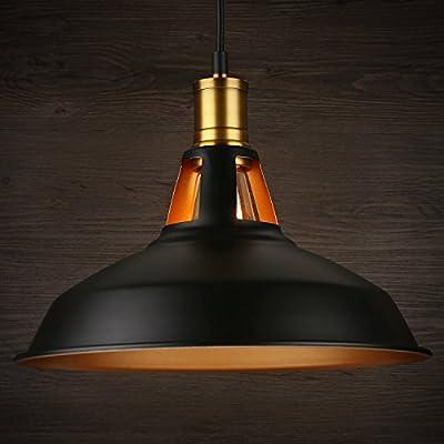 1 Light Industrial Metal Pendant Light, Edison Vintage Style Hanging Barn Lampshade, Kitchen, Pool Table, Dining Room, Restaurant, Café, Bar, Matte Black, 2 YEARS WARRANTY