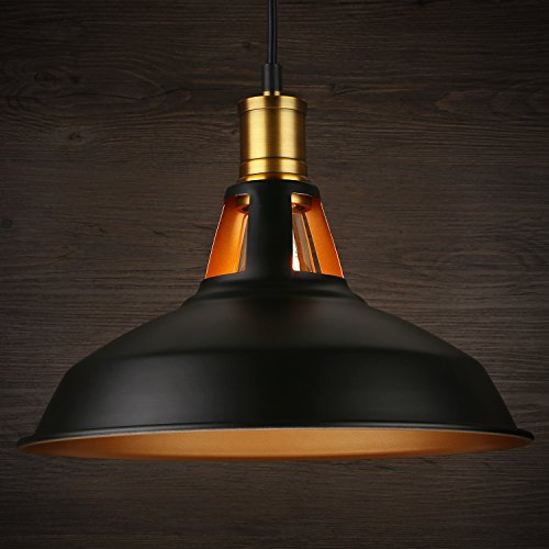 Industrial Metal Black Pendant Light Adjustable Hanging Height Ceiling Mounted Warm Tone Effect Barn Lampshade Perfect For Kitchen Bar Counter Dining