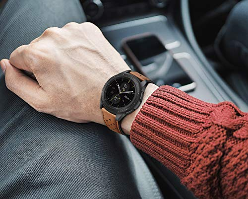 BONSTRAP Compatible with Samsung Galaxy Watch 42mm/Samsung Gear Sport/Samsung Gear S2 Smart Watch Strap Genuine Leather Watch Straps 20mm Wristband