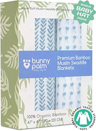 Muslin Swaddle Blankets - Organic Bamboo Swaddle Blanket Boys Set of 2 - Soft Baby Blanket - Nursery Swaddling - Newborn Receiving, Swaddle Wrap for Infant or Toddler - Shower Gift with Blue Arrow