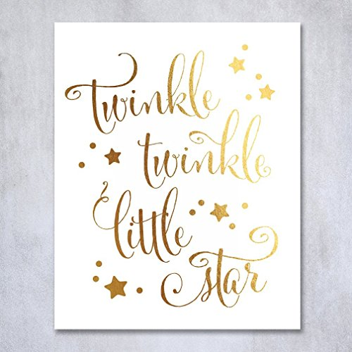 Twinkle Twinkle Little Star Gold Foil Decor Nursery Wall Art