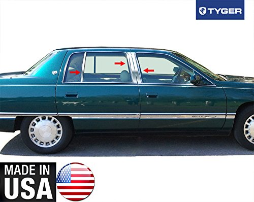 Made in USA! Works With 94-96 Cadillac Deville 6PC Stainless Steel Chrome Pillar Post Trim ()