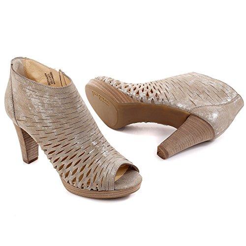Paul Green 6839-079 Donne Sandalette Traforato Suola Nubuck Beige Elegante / Metallico