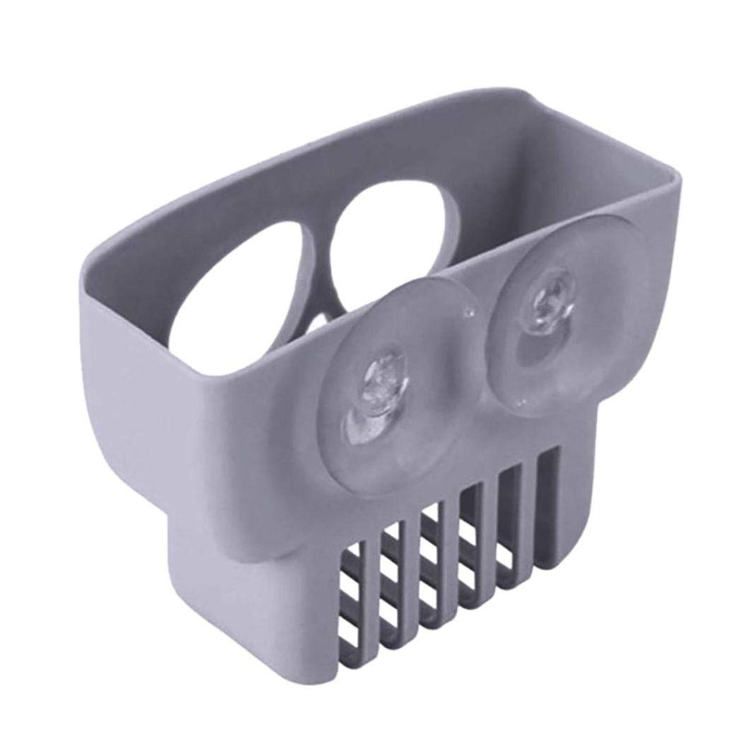 YJYdada Double Suction Cup Sink Sponge Holder Kitchen Bathroom Skull Drain Storage Rack (Gray)