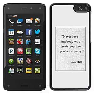 Caucho caso de Shell duro de la cubierta de accesorios de protección BY RAYDREAMMM - Amazon Fire Phone - Oscar wilde escritor texto cartel cotización