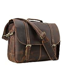 Tiding Mens Genuine Leather Messenger Briefcase Bag 15.6 inch Laptop Crossbody Shoulder Satchel Bag with Detachable Padded Laptop Sleeve