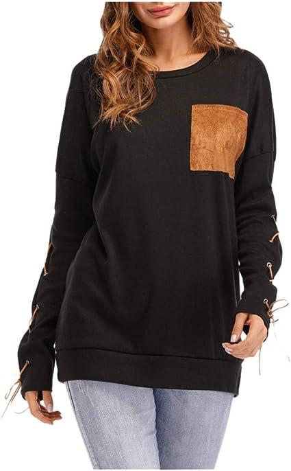 Tee-Shirt Femme Casual Point Print Ruffles Button Ceinture /à Manches Longues Chemisier Femme Chic Chemise Femme FVETFashion Chemise Femme