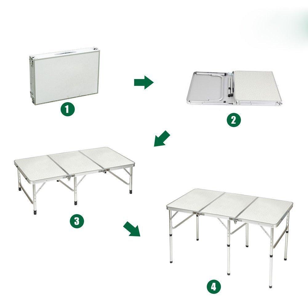 QITAO/® 6 pies de Aluminio Plegable Mesa Coche Maletero Buffet//Boda//jard/ín//Calle Fiesta en//Fuera Puerta//Mercado//pies//Fair Plegable