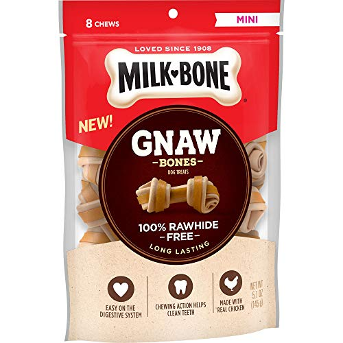 (Milk-Bone Gnaw Bones Knotted Bones, Rawhide-Free, Chicken, Mini, 5.1 oz (Pack of)