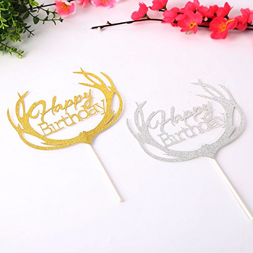 8pcs Cupcake Topper silver Happy Birthday Cupcake Toppers Wedding Bamboo Fruit Cocktail Forks Party Finger Food Wedding Cupcake Toppers, Bridal Shower Valentine's Day Cupcake Toppers