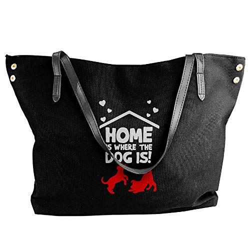 Home Black Shoulder Is Women's Canvas Tote Dog Bag The Handbag Where Large Hobo Is OgqXHqw