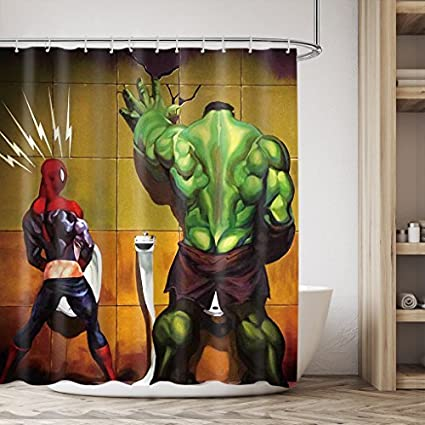 LIGHTINHOME Superhero Hulk In The Toilet Design Shower Curtain Set Green Yellow Red Kids