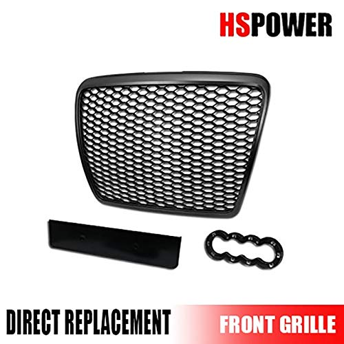 HS Power Black Finished Rs-Sport Honeycomb Mesh Front Hood Bumper Grill Grille for 2008-2011 Audi A6 / S6 C6 Facelift