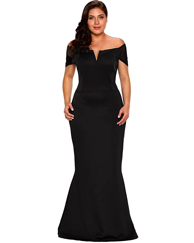 aa911aaebe9cd Amazon.com  Lalagen Women s Plus Size Off Shoulder Long Formal Party Dress  Evening Gown  Clothing