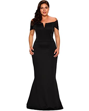 Lalagen Women s Plus Size Off Shoulder Long Formal Party Dress Evening Gown  Black M 2bc71aa2f747