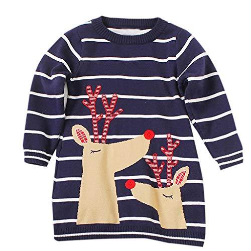 Sunhusing Children Girls Long Sleeve Santa Cartoon Elk Print Stripe Sweater Skirt Cute Girls Knit Dress ()