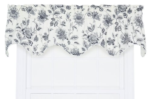 Ellis Curtain Winston Monochromatic Floral Print Lined Scallop Valance, 70 by 16-Inch, Navy