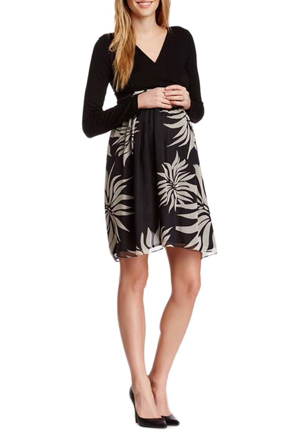 Olian maternity womens floral print kylie surplice neck dress olian maternity womens floral print kylie surplice neck dress small black at amazon womens clothing store ombrellifo Choice Image
