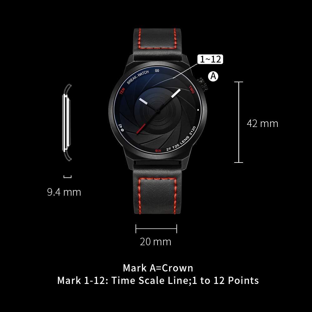 BREAK Reloj de Cuarzo Unisex, Reloj Impermeable Reloj Análogo de Cámara único, Reloj de Moda Correa de Cuero con Caja de Regalo, Reloj Casual Negro para ...