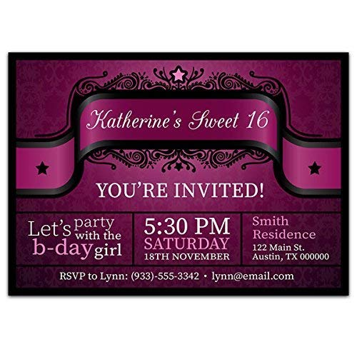 Image Unavailable Not Available For Color Elegant Purple Sweet Sixteen 16 Birthday Party Invitations