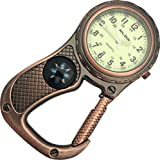 Glow in the Dark Belt Fob Watch with compass - Antique Copper