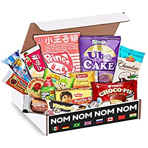 Elite World Snack Sampler Box - Foreign snacks and global candies - Huge Assortment of Asian Snacks, European Treats, Central American Candy and more - Gift Care Package