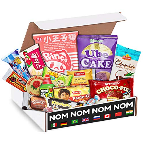 Elite World Snack Sampler Box (50 Count) | 10 big snacks + 40 global candies | Huge Assortment of Asian Snacks, European Treats, Central American Candy and more | Gift Care Package | (Snack Subscription Box From Around The World)