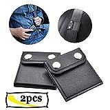 Seat Belt Adjuster, Reachno Black Comfort Leather Shoulder Neck Strap Positioner, Auto Shoulder Neck Protector Strap Protector Locking Clip Safety Covers (2 Pack)