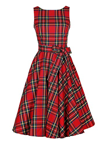 Kimring Women's 1950's Vintage Plaid Belted A-Line Picnic Party Cocktail Dress Rojo