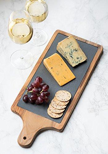 Twine Rustic Farmhouse Slate and Acacia Wood Cheese Paddle