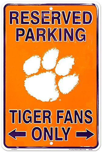 Family Reserved Parking Sign (Hangtime SP80053 Clemson 8 x 12 inch metal Parking sign in team colors)