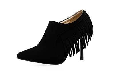 Girls Slip-On Spikes-Stilettos Fringed Frosted Pumps-Shoes