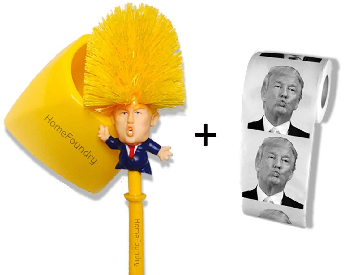 Donald Trump Toilet Brush Toilet Paper Bundle Funny Political Gag Novelty Item (Holder Included) by HomeFoundry