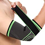 Elbow Brace Compression Support Sleeve with Adjustable Strap for Tendonitis, Tennis Elbow, Golfer's Elbow, Arthritis, Basketball, Baseball, Football, Golf, Lifting, Sports by Vitoki, Single