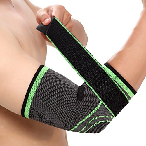 Full Elbow Support (Elbow Brace Compression Support Sleeve with Adjustable Strap for Tendonitis, Tennis Elbow, Golfer's Elbow, Arthritis, Basketball, Baseball, Football, Golf, Lifting, Sports by Vitoki, Single)