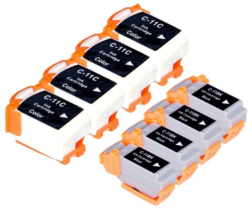 8 Pack Compatible Canon BCI-11 4 Black, 4 Tri Color for use with Canon BJC-55, BJC-70, BJC-80, BJC-85, BJC-85W, LR1. Ink Cartridges for inkjet printers. BCI-11-BK , BCI-11-C Blake Printing Supply