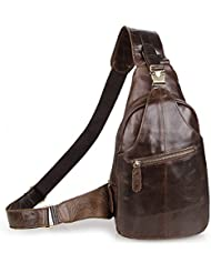 SEALINF Mens Leather Outdoor Chest Cross Body Bag Fanny Backpack