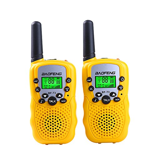 BYBOO Baofeng T3 Kids Walkie Talkies Mini Two Way Radios for Boys Girls Children UHF 462-467MHz Frquency 22 Channels - 1 Pair Yellow -