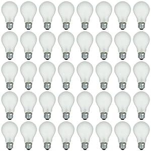 48 Pack of 100 Watt Long Life Incandescent Light Bulb, 130 Volts, Warm White, 3200K, Frost Finish, Medium Base, Rough Service - Vibration Resistant (100)