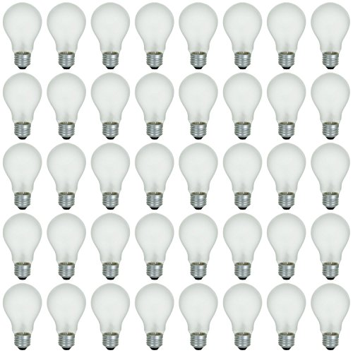 Base Long Life Light Bulb (48 Pack of 75 Watt Long Life Incandescent Light Bulb, 130 Volts, Warm White, 3200K, Frost Finish, Medium Base, Rough Service - Vibration Resistant (75))