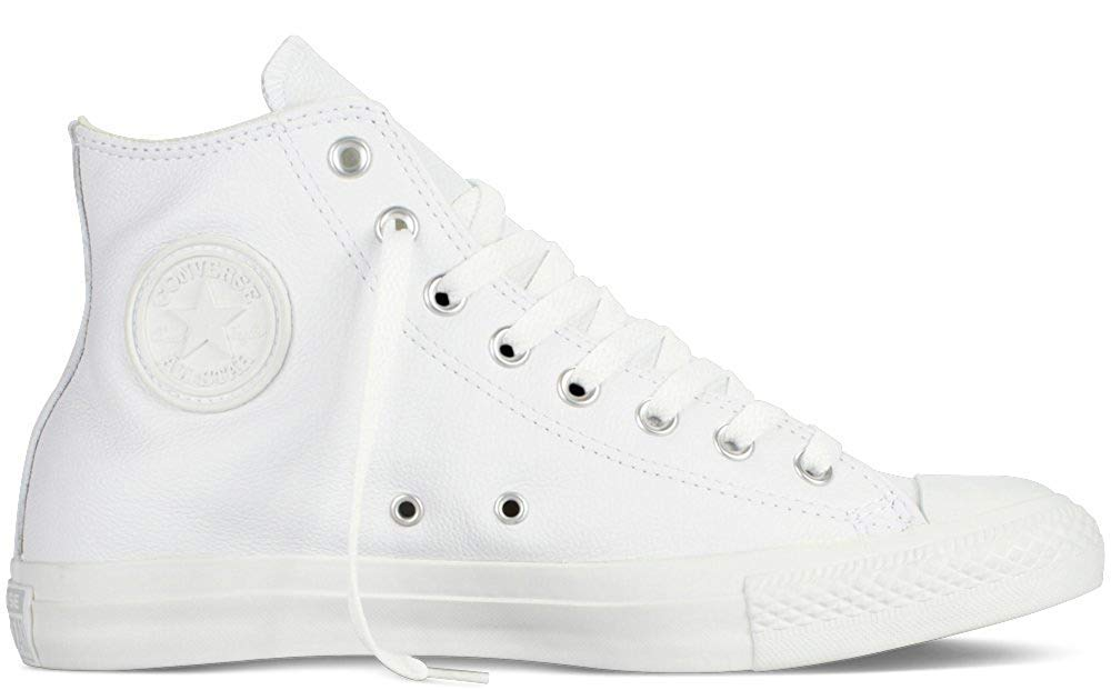 5c23080a17b2f Converse Mens Unisex Chuck Taylor All Star Leather Hi Fashion Sneaker Shoe,  White Monochrome, 9.5