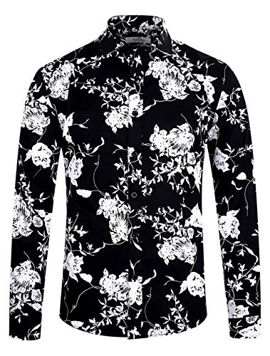 Men's Shirt Long Sleeve Slim Fit Flower Shirt Cotton Holiday Casual Shirts Party Floral Shirt Orchid Print Black ES005-S