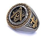 Knights Templar Freemason Ring - York Rite Gold & Silver Duo-Tone Stainless steel Masonic Ring with Knights of Templar Crosses. Freemason Ring with etched symbols. Freemasons Jewelry