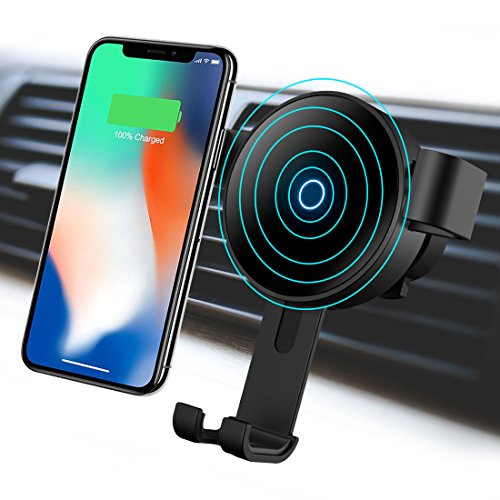 Wireless Car Charger Mount, Hzmirzk Gravity Car Mount Air Vent Phone Holder, 10W Fast Charge for Samsung Galaxy S9/S8/S7 Edge/Note 8, Standard Charge for iPhone X/8 Plus/8 or Other Qi Enabled Devices ()