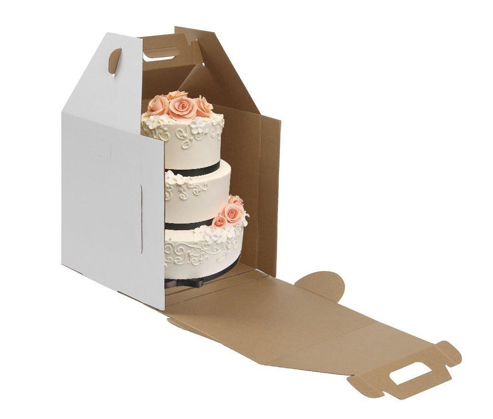 W Packaging Plain Tall White/Kraft Cake-Carrier Box 12'' x 12'' x 14'' High - Pack of 10