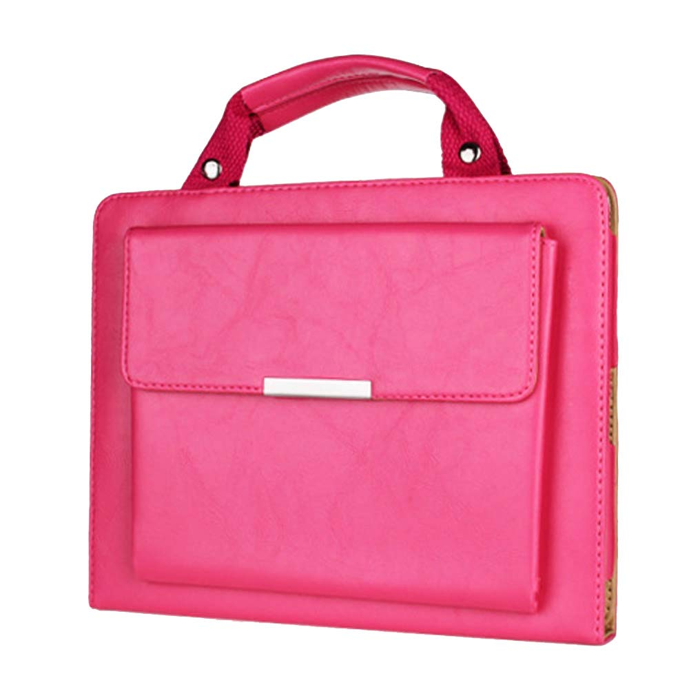 MeiLiio iPad 12.9 Apple Cases Business Style Handbag, Slim PU Leather Protective Cover with Handle Pocket Fold Out Viewing Stand Carrying Case for Apple iPad Pro 12.9 inch Tab (Hot Pink)