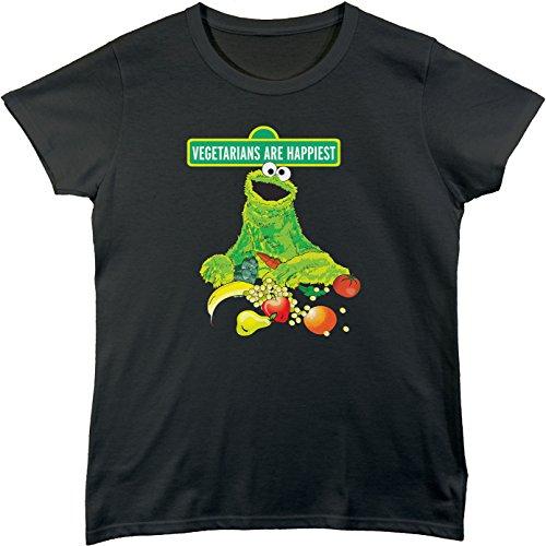 BSW Women's Vegetarians Are Happiest Cookie Monster Vegan Shirt SM Black