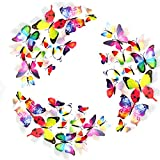 36 Pack 3D Butterfly Refrigerator Magnets, Fridge Magnets, Removable DIY Butterflies Refridgerator Decoration Wall Stickers (Rainbow-36 Packs)