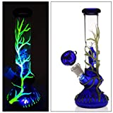 Hand-Made Glass Crafts, 10Inch Dual Water Percolator Glass Big Water Chamber - Easy to Grip and with Ice Shelf, Unique Luminous Vine Design
